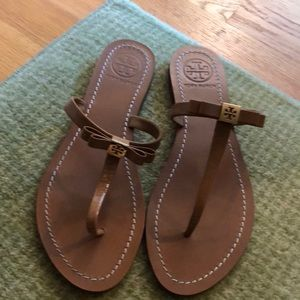 Tory Burch patent leather thong sandals
